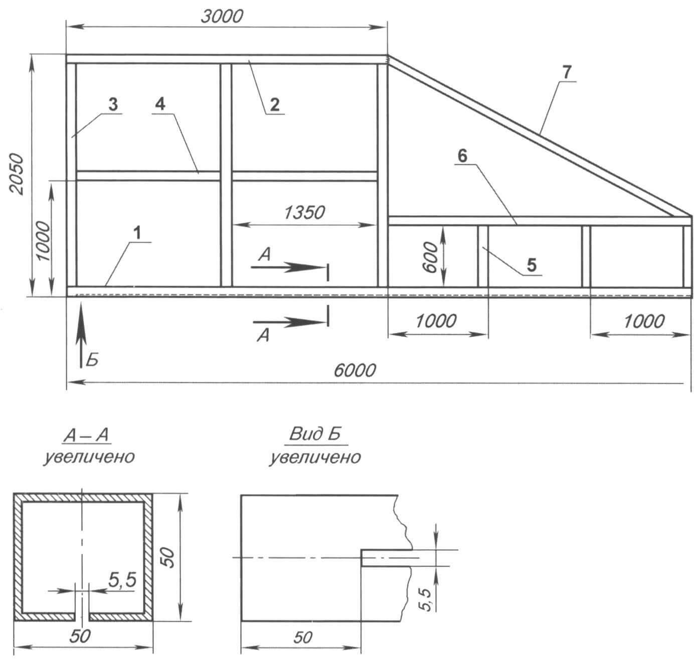 Каркас (остов) ворот(все детали изготовлены из трубы 50x50x2)