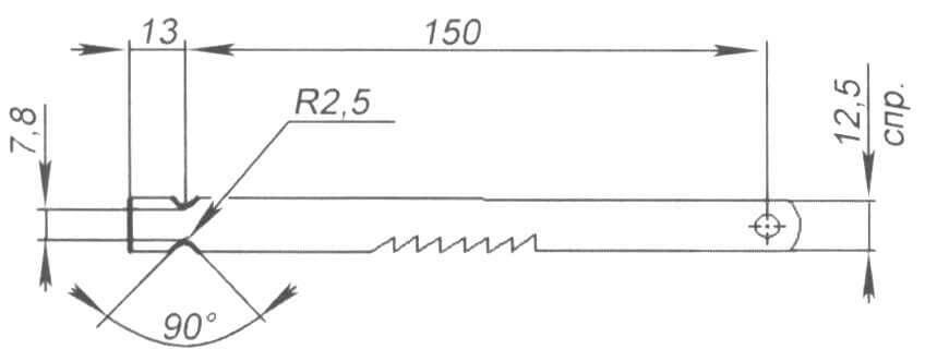 Рис. 4.Заточкаобломанногос одногоконцаполотна