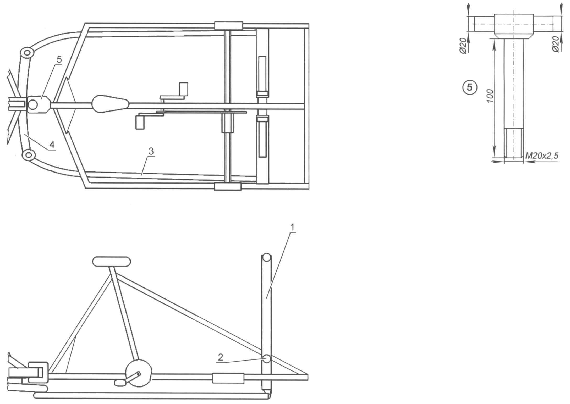 Рис. 4. Рулевое управление (рама - наложенная проекция)