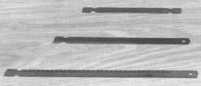 Фото 3. Подготовка (заточка) обломков полотен для использования их в ножовке промышленного производства