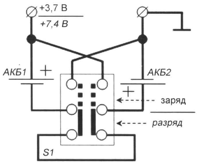 Рис. 4. Схема последовательно-параллельной коммуникации для двух АКБ
