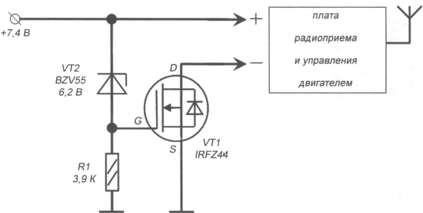 Рис. 5. Схема защиты АКБ от перезаряда (излишнего заряда) с заданным напряжением отключения