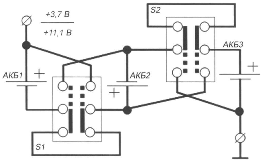 Рис. 7. Схема последовательно-параллельной коммуникации для трех АКБ