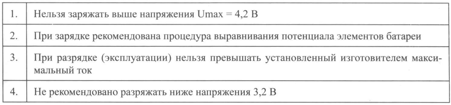 Основные требования к эксплуатации литиевых АКБ