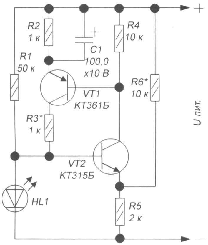 Рис. 2. Схема индикатора разряда литиевых АКБ