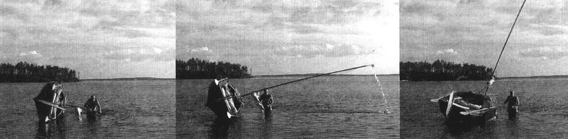 Демонстрация самоспрямления «Авоськи-4» из положения «мачта в воде»