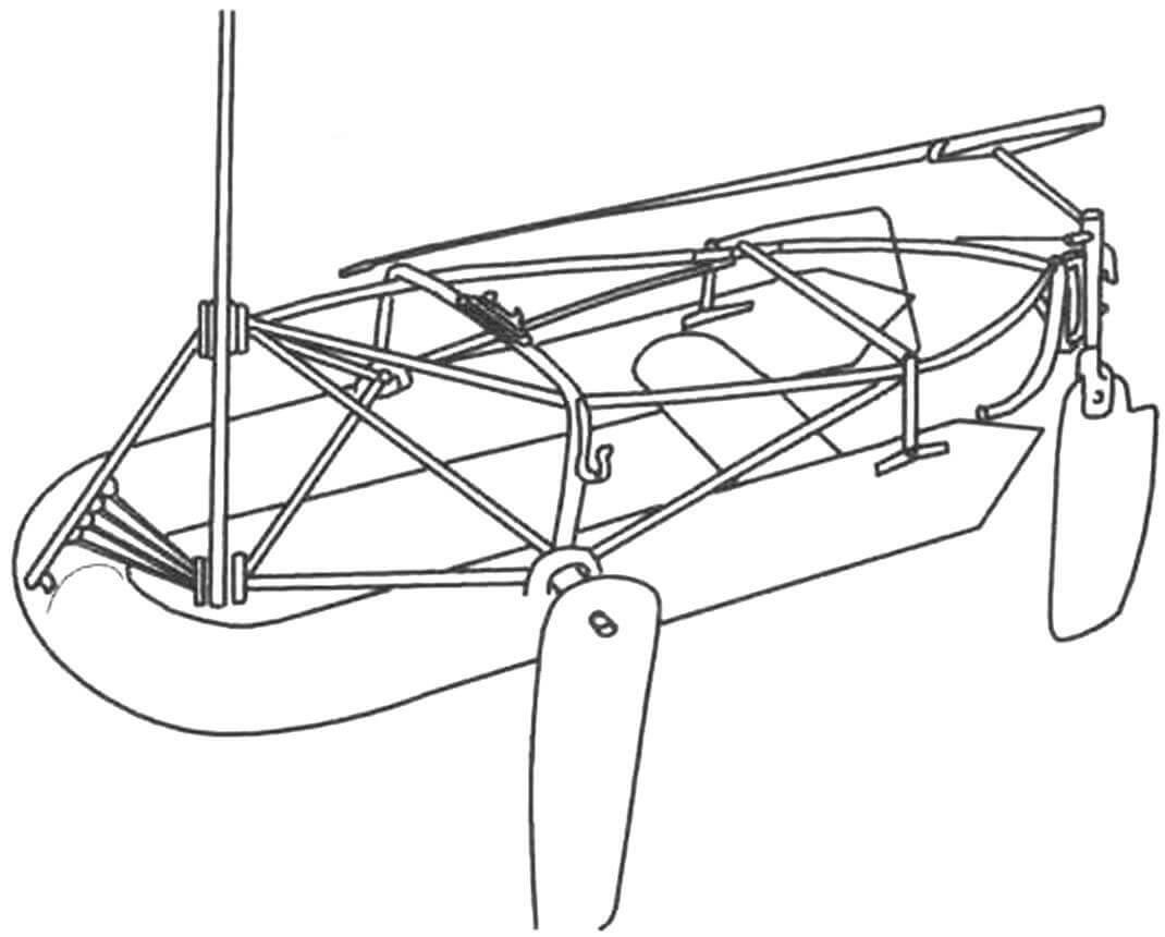 Один из первых эскизных набросков «Авоськи-2»: в основе надувная лодка «Волна», а сверху каркас, собранный из лыжных палок