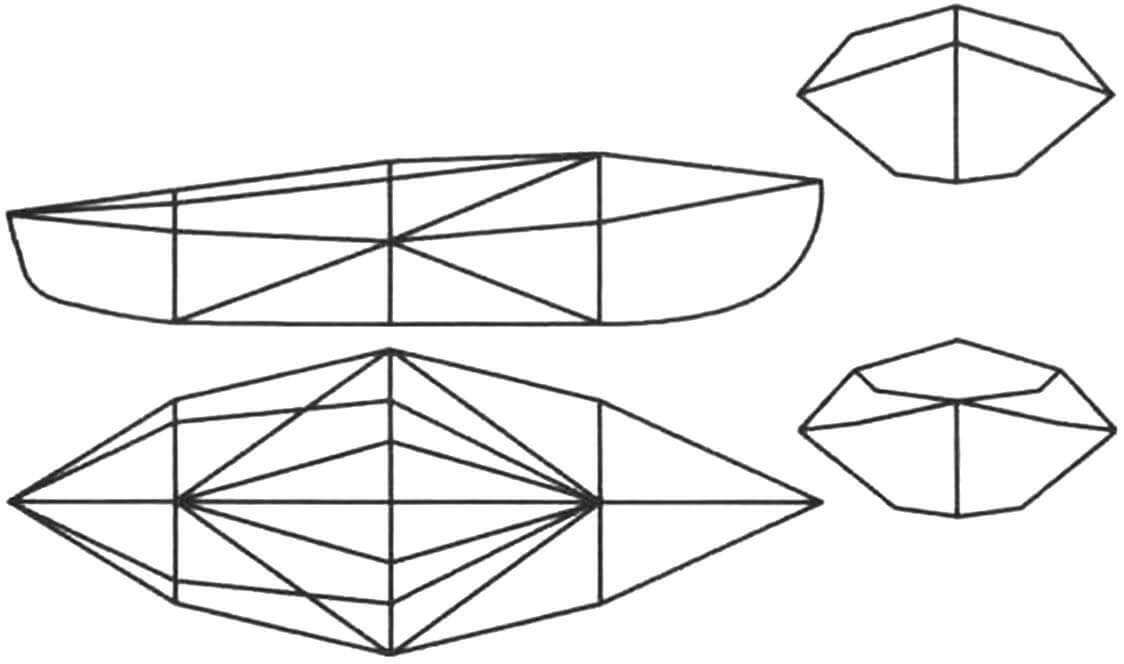 Принципиальная схема каркаса лодки «Авоска-3». Силовой набор состоит из элементов, образующих треугольники и тетраэдры