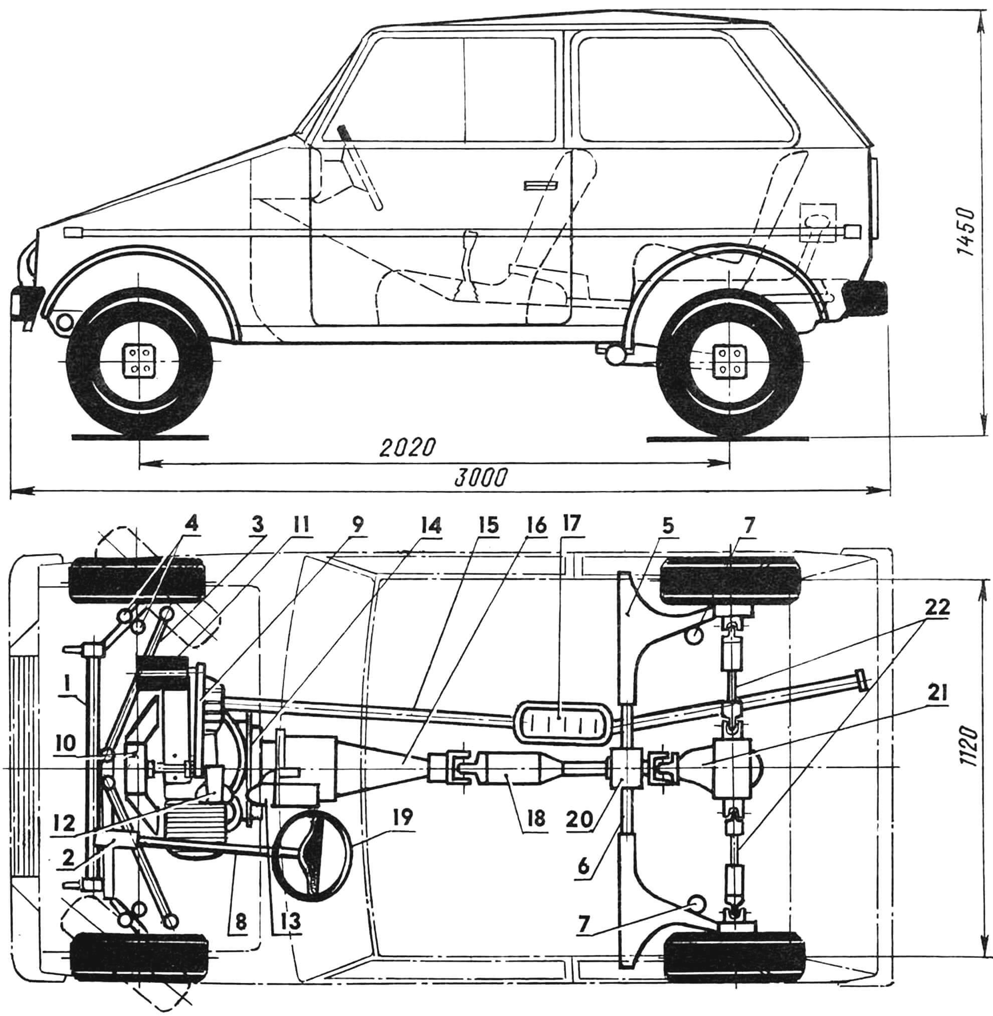 Рис. 1. Компоновка автомобиля «Люга-750»