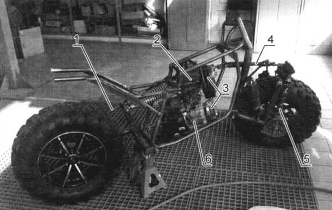 Обратите внимание, что двигатель установлен на раме не продольно, а с небольшим угловым смещением вправо - такое расположение обусловлено наличием раздаточной коробки и карданов переднего и заднего приводов