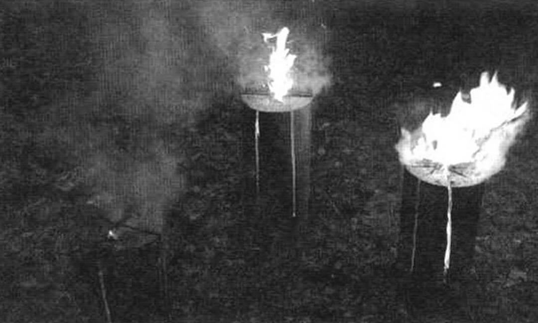 А это промежуточный результат через 15 минут после старта: чем больше пропилов, тем огонь ярче, «свечка» самая жаркая, но и самая неэкономичная