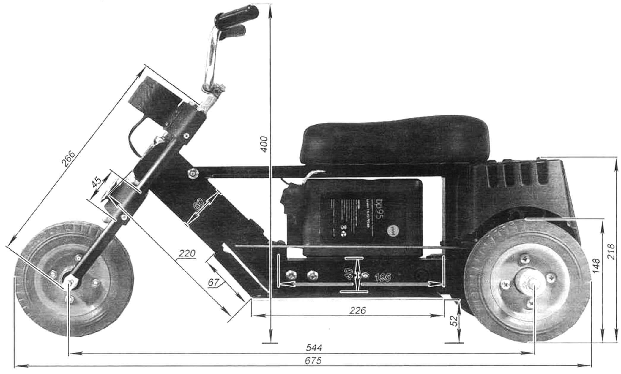Детский электроцикл, вид слева