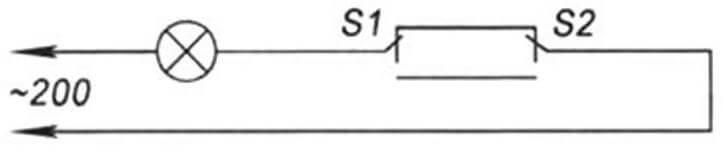 Схема управления освещением с двумя тумблерами