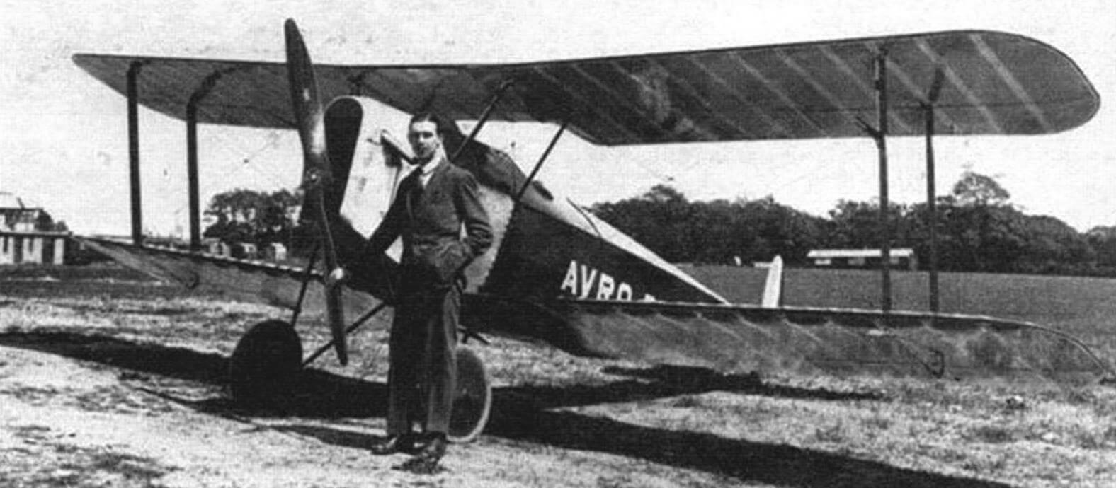 Первый опытный образец биплана Авро 534, 1919 год