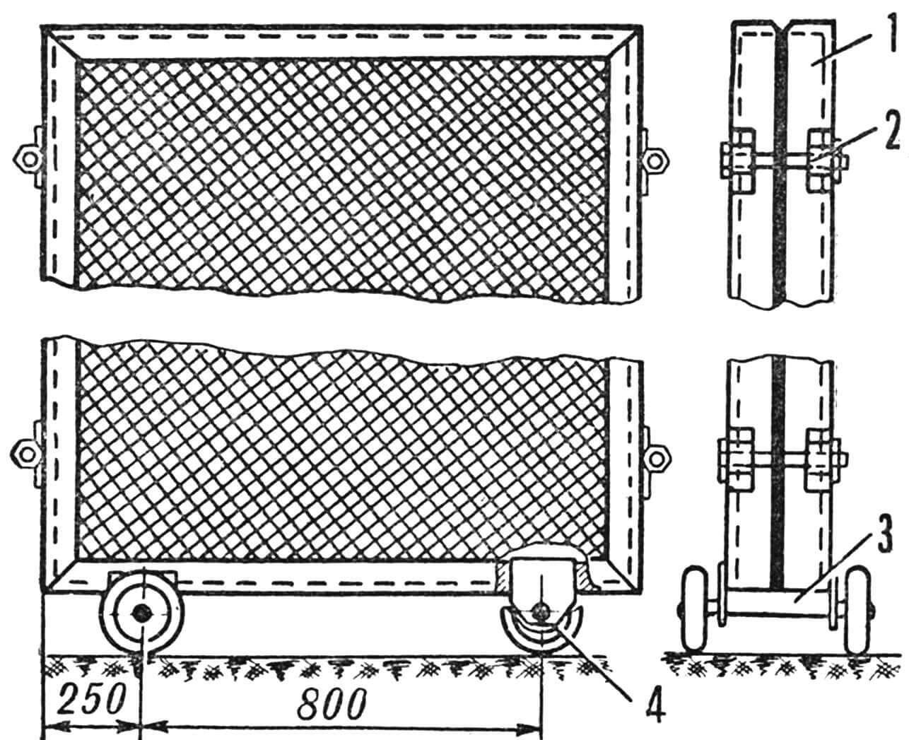 Рис. 1. Схема вертикальной теплицы: 1 — ручки; 2 — орошающая трубка; 3 — сотовая основа из пластмассы; 4 — прослойка шлаковаты; 5 — стяжной болт.