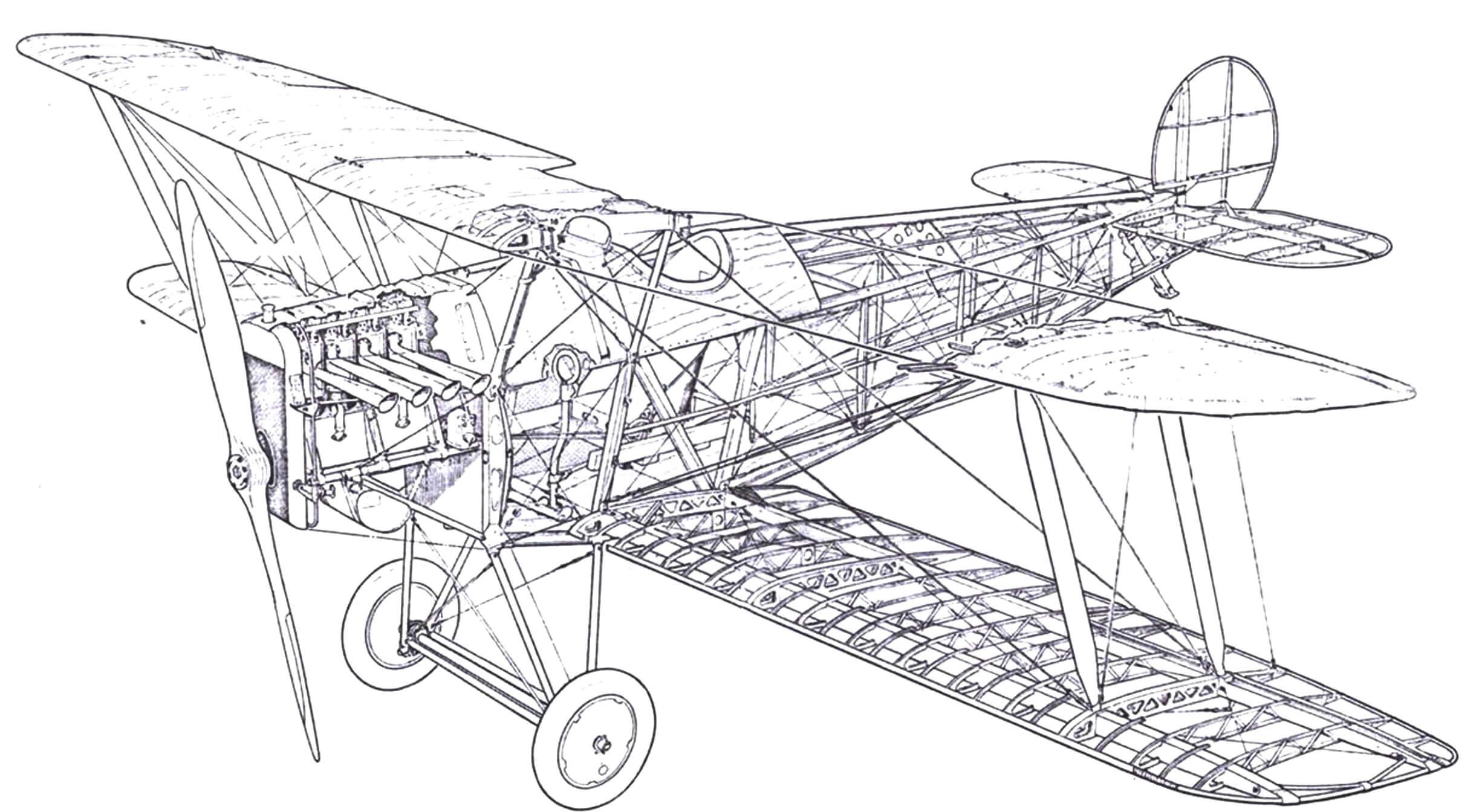 Компоновка второго Авро 534, совершившего беспосадочный перелет в Турин