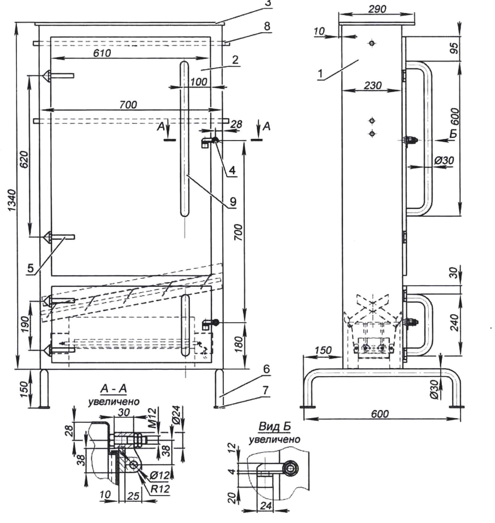 Коптильня с электротепловым автогенератором: 1 - шкаф; 2 - дверцы; 3 - крышка; 4 - запоры; 5 - шарниры; 6 - ножки; 7 - опорные пластины; 8 - пруток для навески; 9 - ручка дверцы; 10 - крючок подвесной