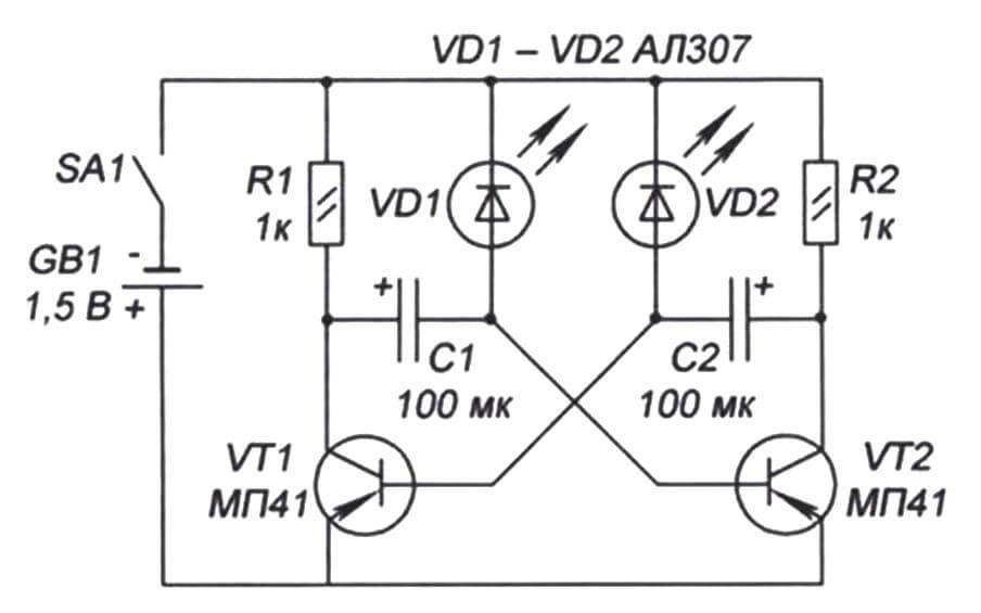 Принципиальная схема мигающего фонаря на симметричном мультивибраторе