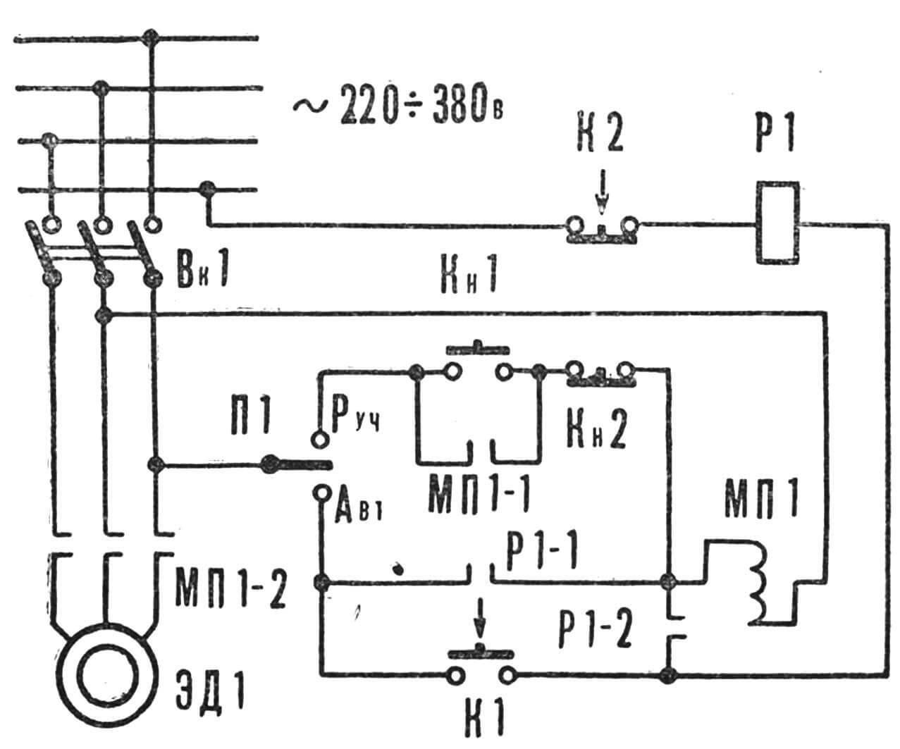 Рис. 2. Схема полива: 1 — трубопровод; 2 — орошающая трубка; 3 — лампы; 4 — «стенки» с рассадой; 5 — резервуар; 6 — электронасос.