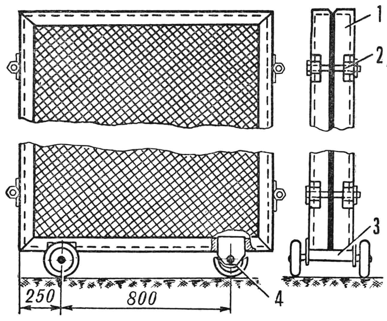 Рис. 3. Сетчатые теплицы с датчиком давления: 1 — рамка с сеткой; 2 — стяжной болт; 3 — ось катков; 4 — датчик.
