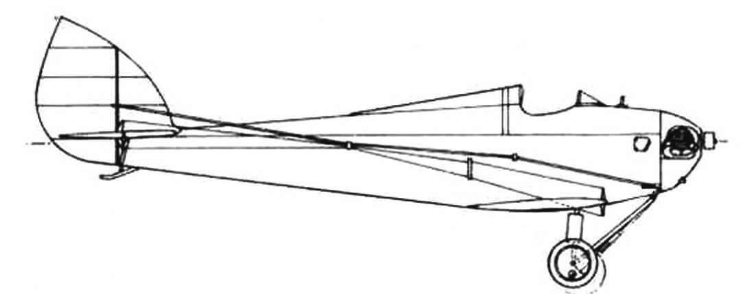 Пунктирной линией показано колесо в полетном положении