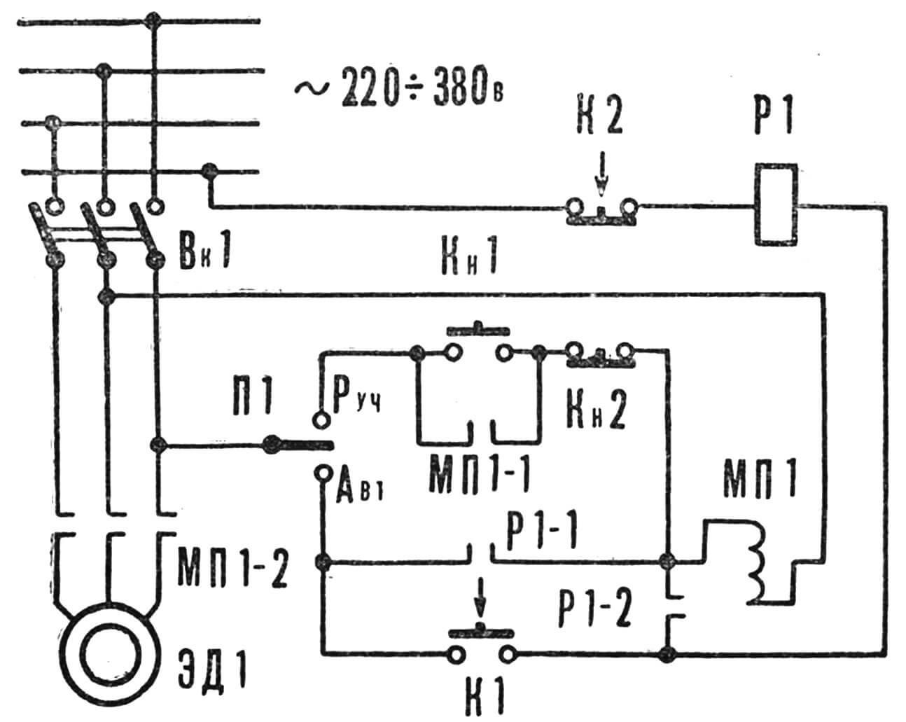 Рис. 4. Автоматический регулятор полива: Кн1 — кнопка «пуска» и КН2 — кнопка «стоп» используются при ручном управлении.
