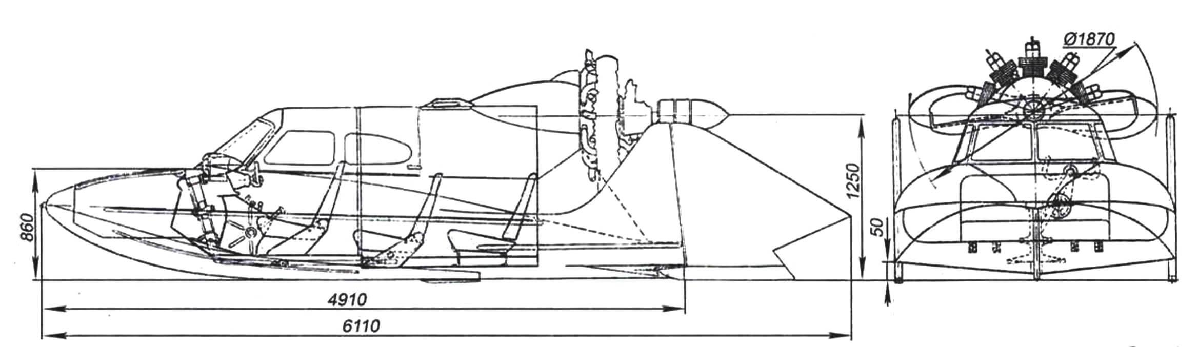 Общий вид аэросаней-амфибии A-З с двигателем М-14Б