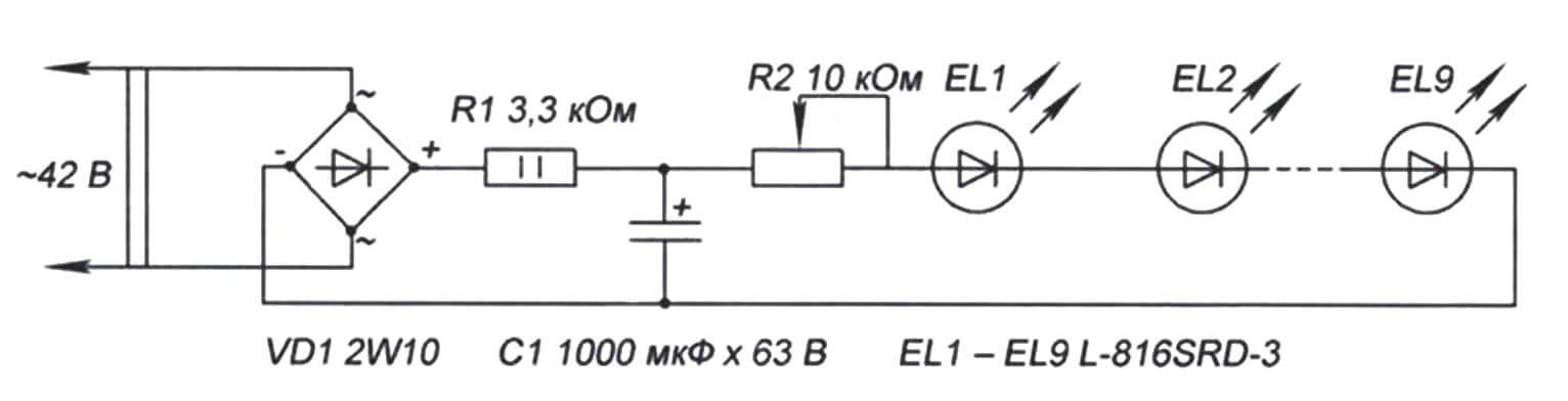Принципиальная схема переносного светодиодного фонаря