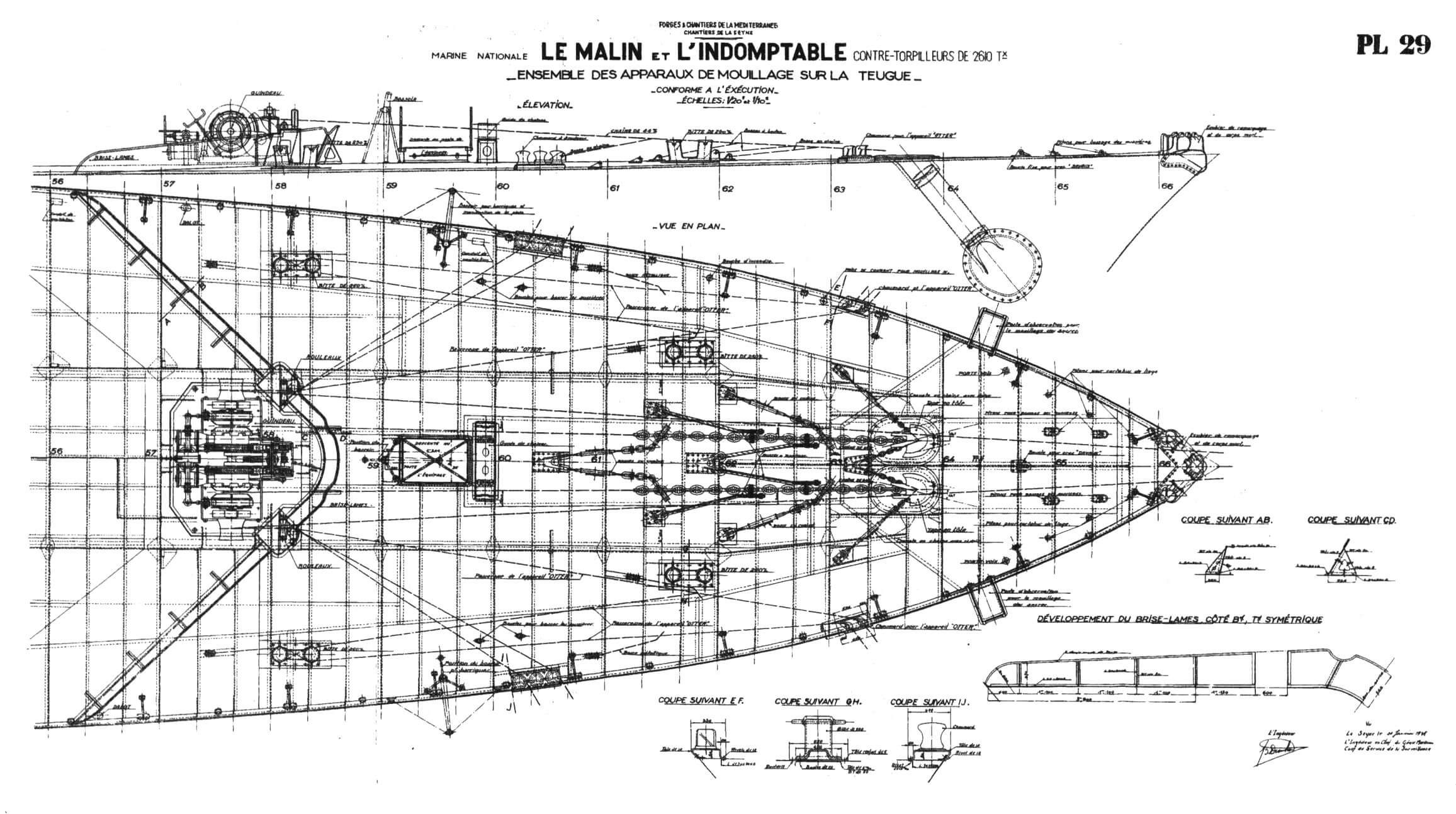 Носовая часть палубы полубака лидеров «Ле Малэн» и «Л'Эндомтабль»