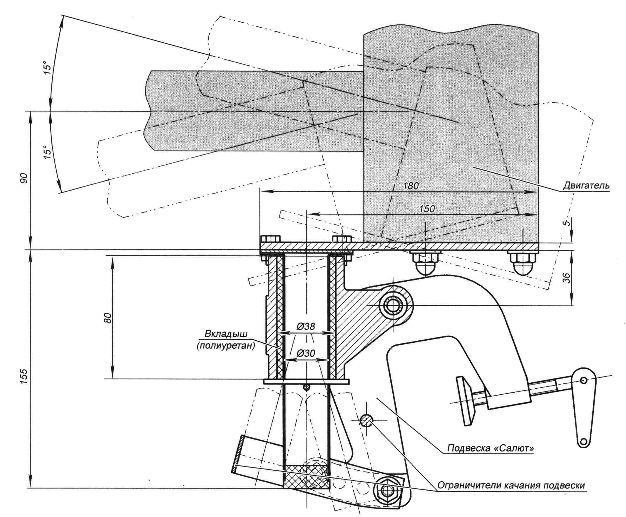 Конструкция подвески мотор-весла