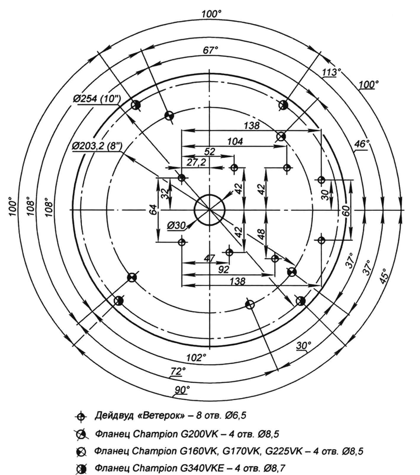 Универсальная схема расположения отверстий, обеспечивающая стыковку дейдвуда мотора «Ветерок» и двигателей фирмы Champion