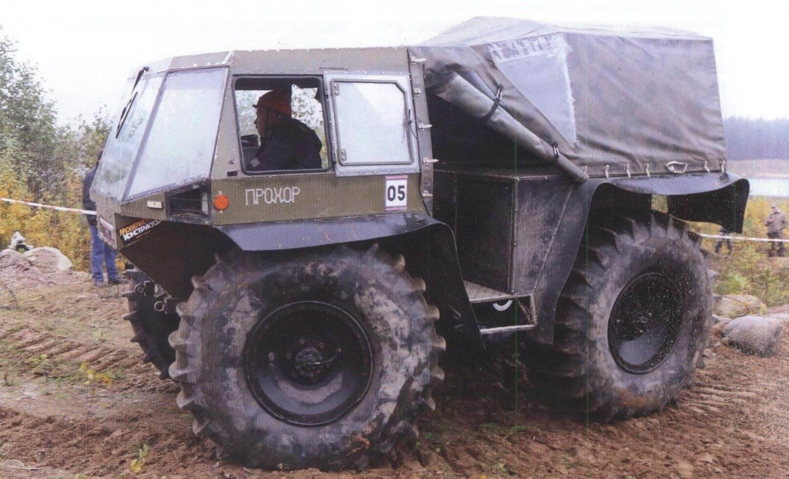 Тяжелый вездеход «Прохор» оборудован системой централизованной подкачки колес выхлопными газами