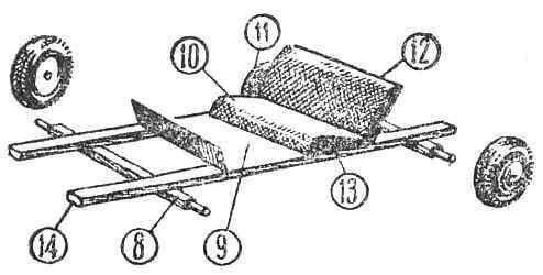 1 — ветровое стекло; 2 — руль; 3 — отверстия для обдува (картон); 4 — стоп-сигнал; 5 — освещение номерного знака; 6 — место крепления номерного знака; 7 — задний буфер; 8 — ось, 9 — полик; 10 — сиденье; 11 — колесо; 12 — спинка сиденья; 13 — инструментальный ящик; 14 — рама; 15 — передний буфер; 16 — фара.