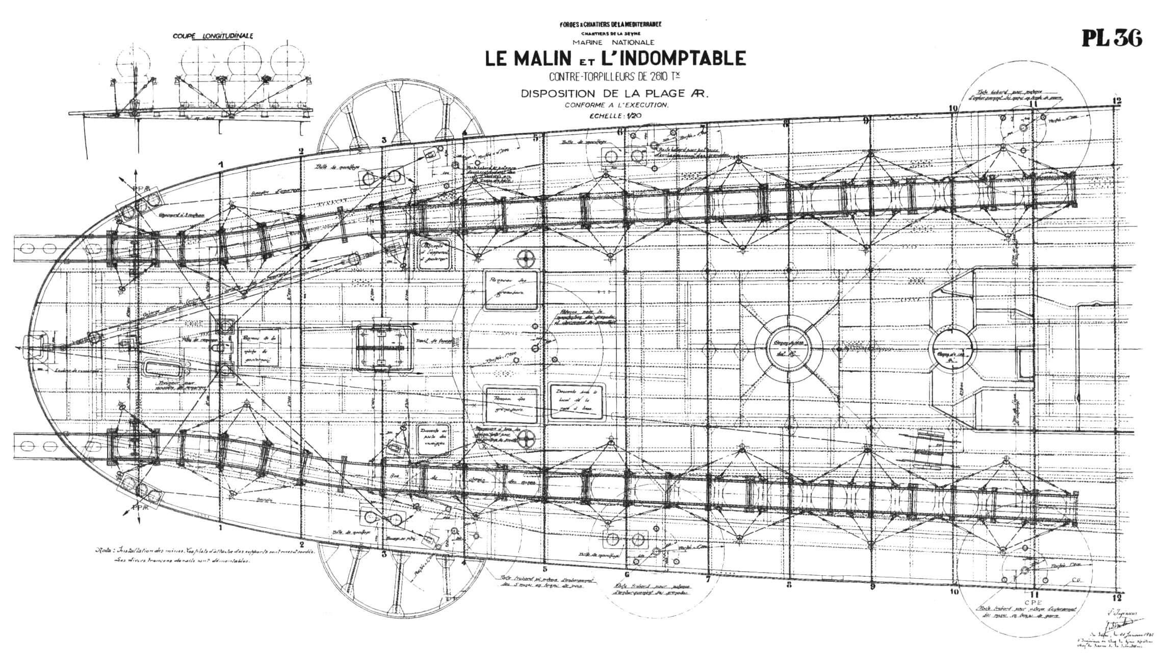 Кормоваи часть верхней палубы лидеров «Ле Малэн» и «Л'Эндомтабль» (с элементами оборудования для постановки мин и противолодочного вооружения)