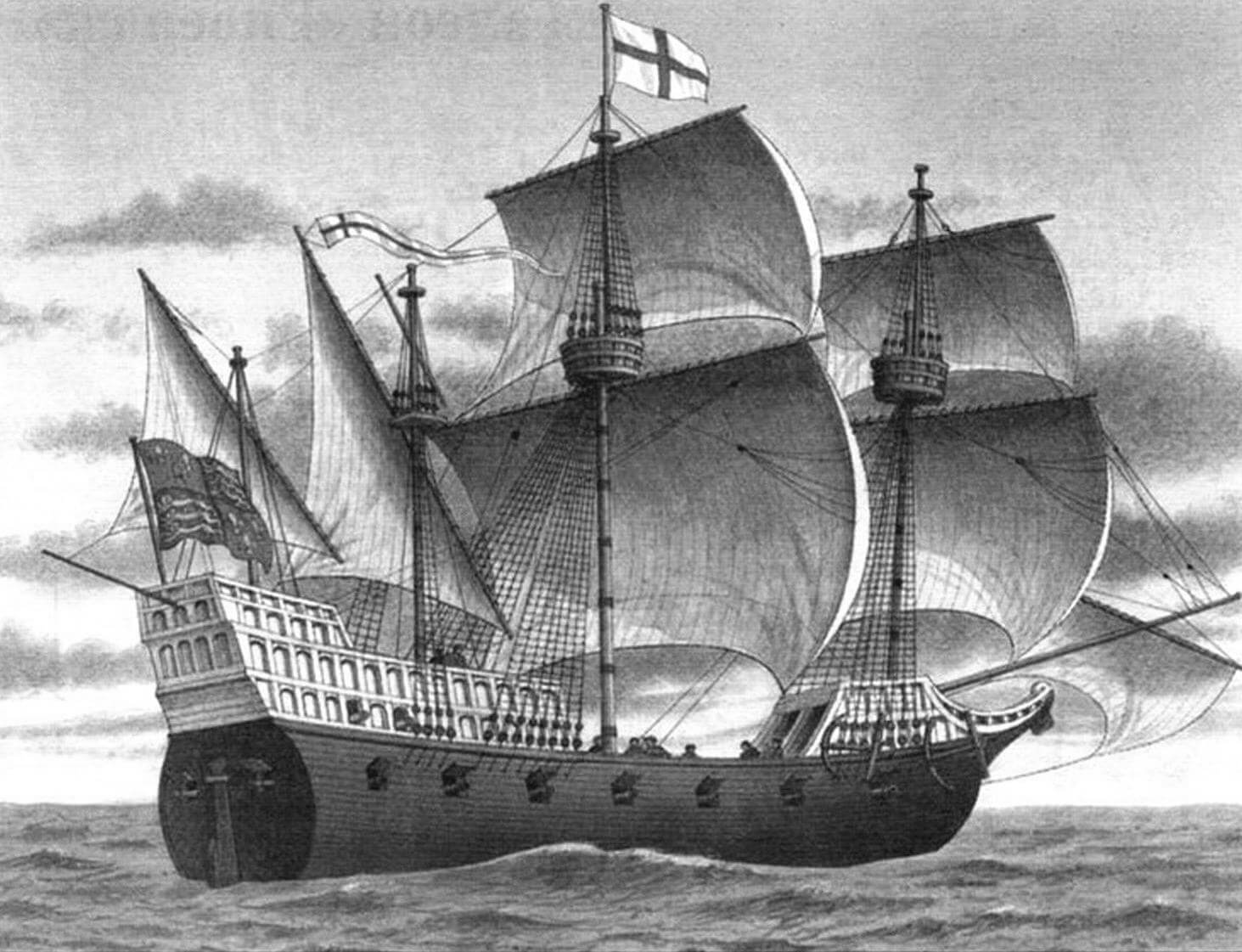 47-пушечный галеон Королевского флота «Элизабет Бонавенчур» (Elizabeth Bonaventure) - флагманский корабль сэра Френсиса Дрейка во время экспедиции 1585- 1586 годов и атаки Кадиса в 1587 году