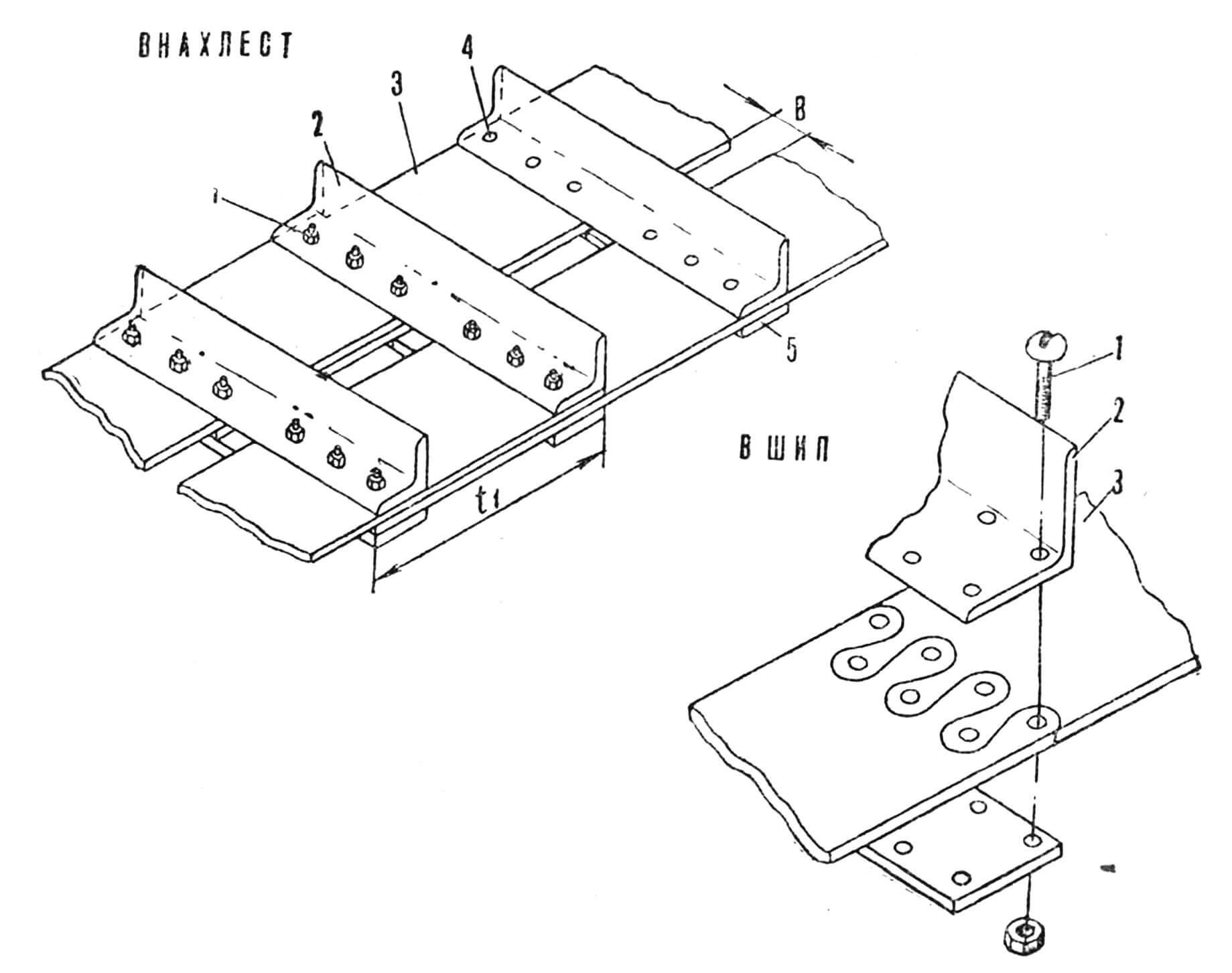 Рис. 3. Схема стыковки ленты: 1 – болт, 2 – угольник-снегозацеп, 3 – лента, 4 – заклепка, 5 – подкладка.
