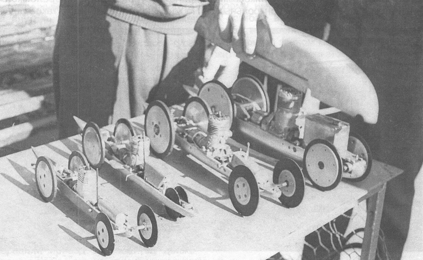 Кордовые модели 1960-х годов: 1,5 см3, 2,5 см3, 5 см3 и 10 см3