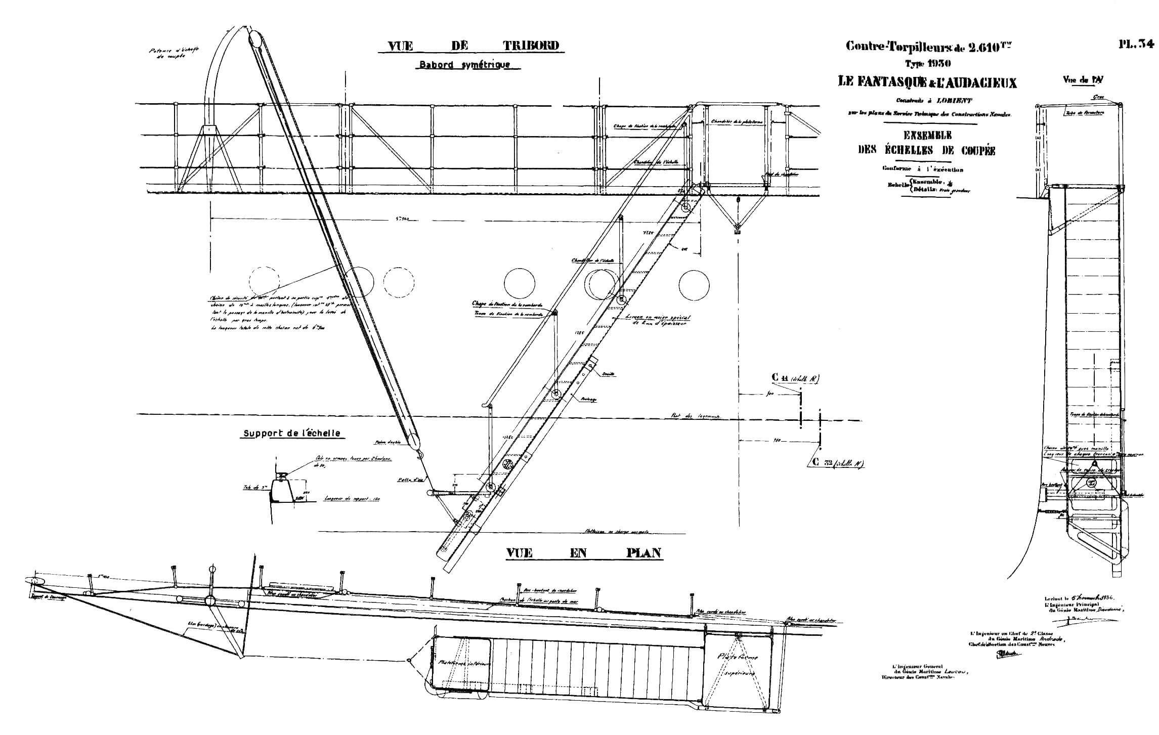 Конструкция и размещение сходного («парадного» трапа на лидерах «Ле Фантаск» и «Л'Одасьё»