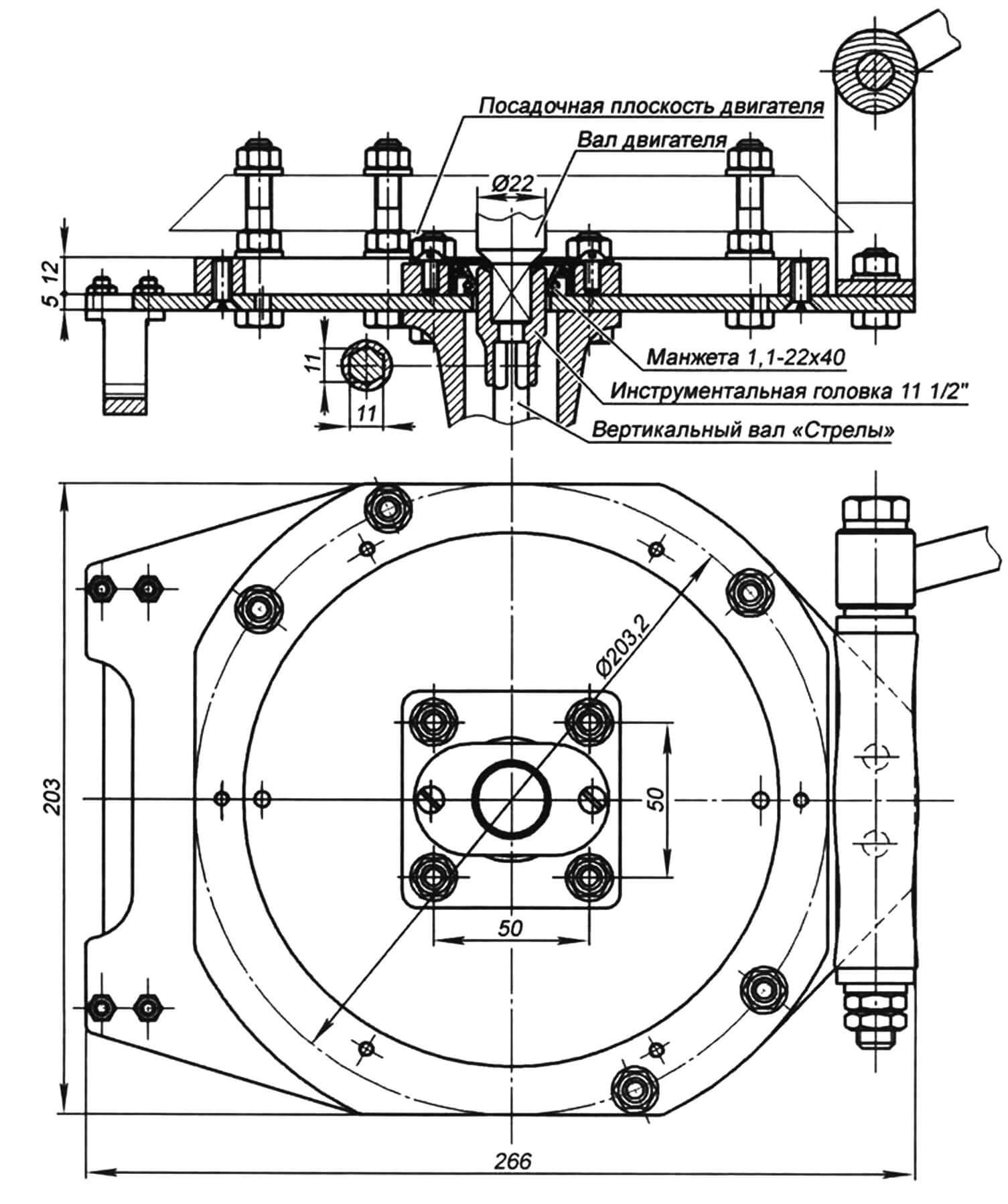 Чертеж стыковки (переходная плита и переходная муфта с уплотнением) дейдвудной трубы мотора «Стрела» с четырехтактной могоголовкой