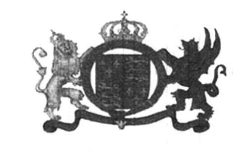 Парус Галеона «Ривендж» с эмблемой. На картине Ф.-Ж. де Лутербурга эмблема изображена на фоке, но историки полагают, что в действительности это изображение было на гроте
