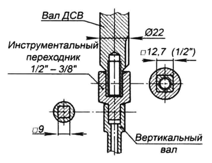 Переходная муфта со шлифовкой концевика коленвала на квадрат 12,7x12,7 мм