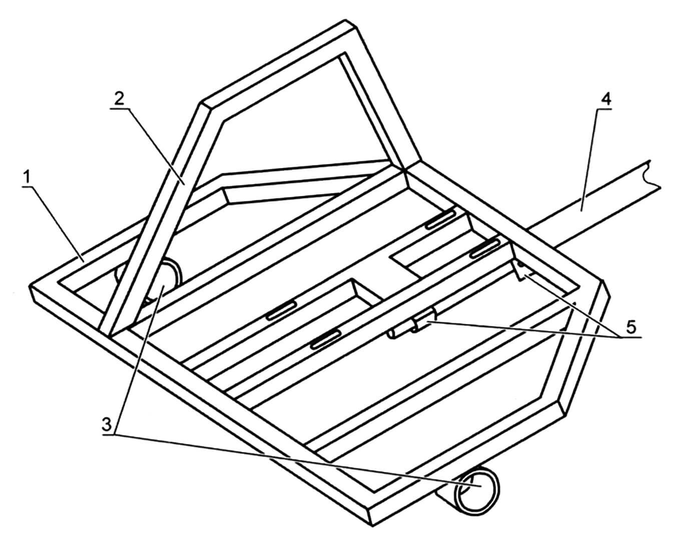 Рама в сборе с дышлом: 1 - основная рамка; 2 защита ноги; 3 - обойма подшипника оси (2 шт); 4 - дышло (труба 27 мм); 5 - крепления дышла