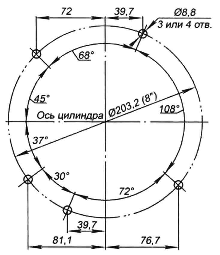 Схема размещения крепежных отверстий на двигателях фирмы Champion (вид снизу)