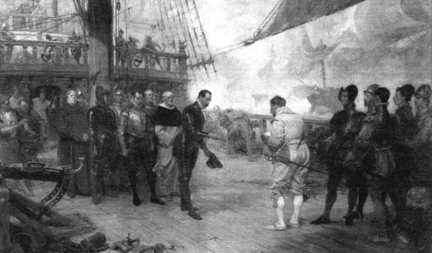 Сэр Френсис Дрейк принимает оружие у командующего Андалузской эскадрой дона Педро де Вальдеса после захвата «Ривенджем» испанского галеона «Нуестра Сеньора дель Росарио» (с картины Джона Сеймура Лукаса)