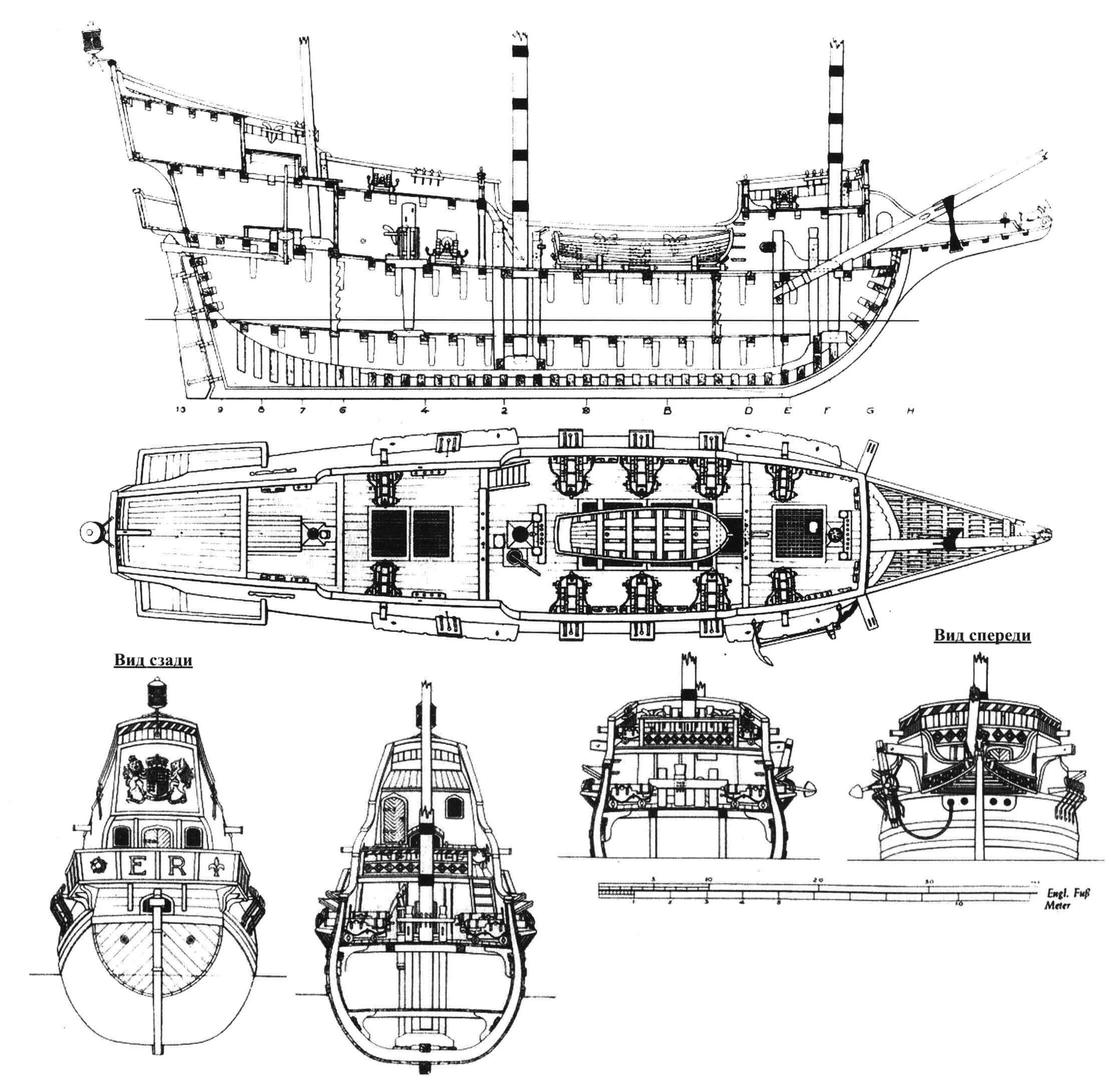 Внутренняя планировка и вид сверху «Голден Хайнд» (реконструкция); сечения корпуса по второй (слева) и первой мачтам