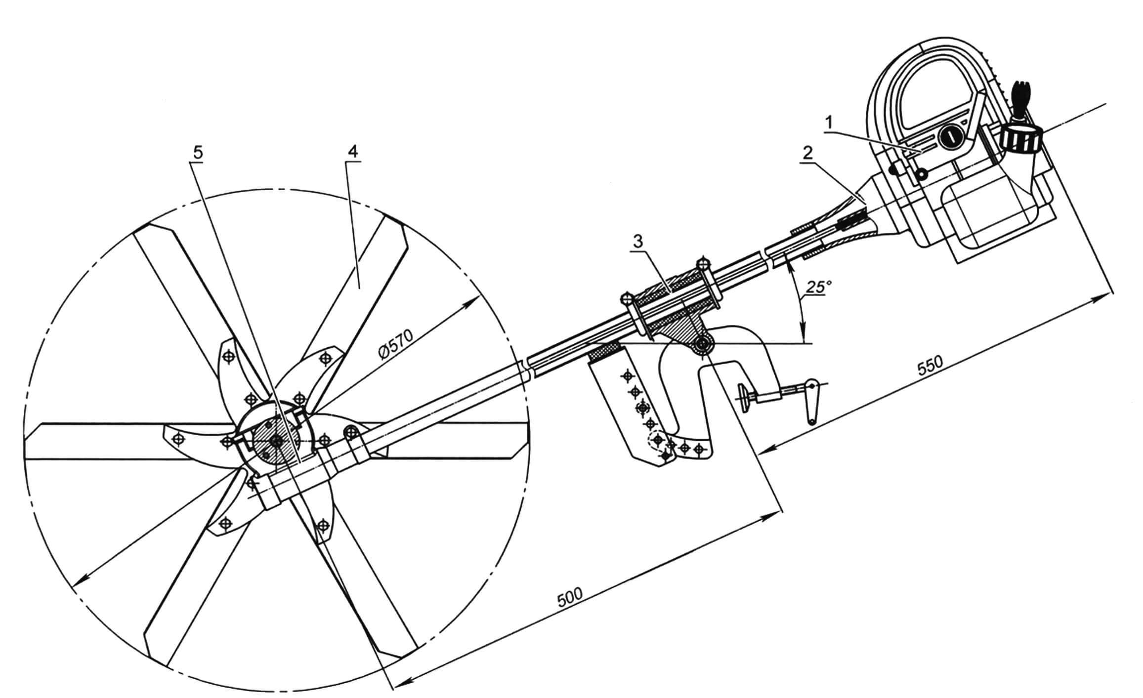 Конструкция подвесного лодочното мотора с кормовыми гребными колесами (ограждение колес и рукоятка управления не показаны)