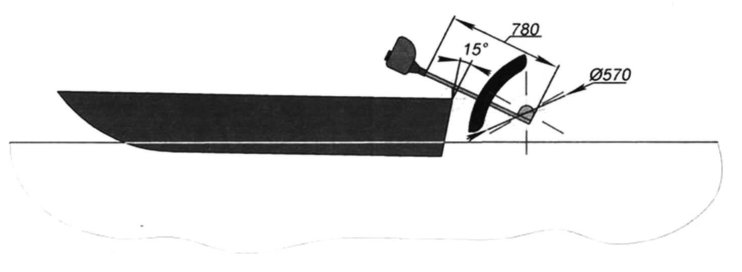 Компоновка мотолодки с кормовым гребным колесом
