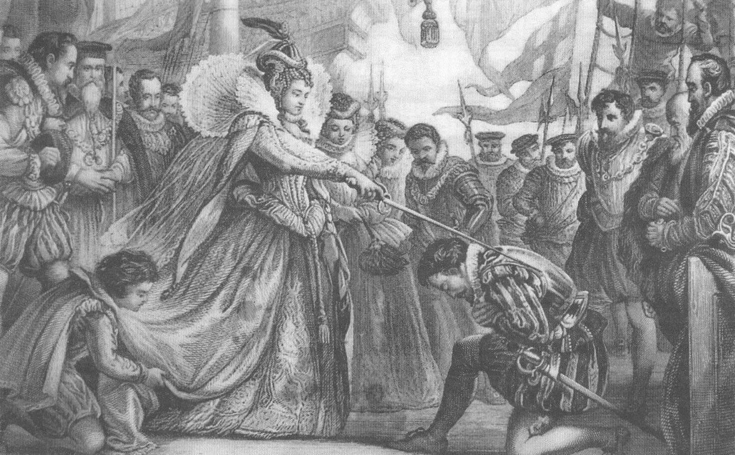Королева Елизавета посвящает в рыцари Френсиса Дрейка на палубе галеона «Голден Хайнд». Это событие было призвано продемонстрировать испанцам, что действия Дрейка получили одобрение со стороны английской королевской власти