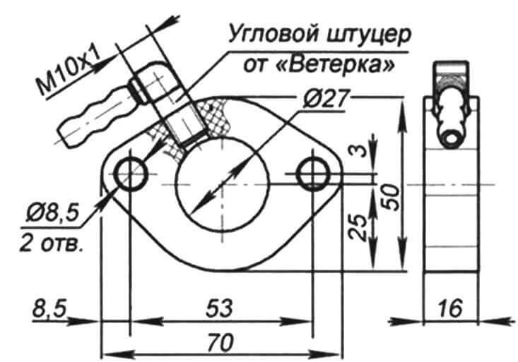 Проставка карбюратора с вакуумным штуцером для бензонасоса