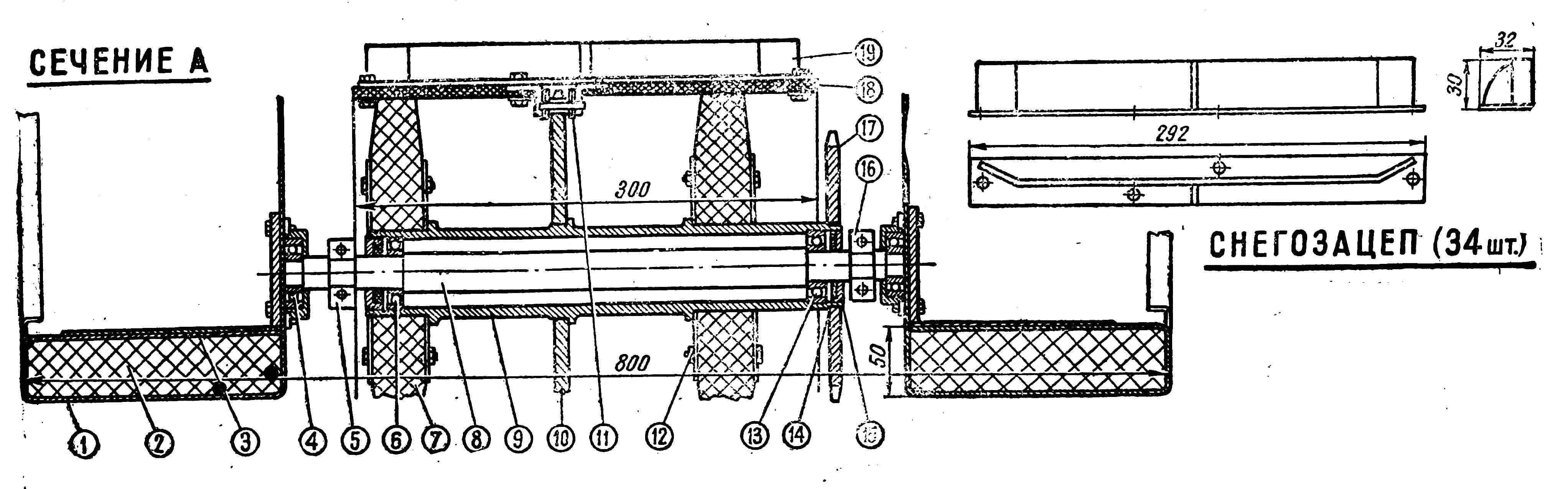 Ходовая часть снегохода и конфигурация трака: 1 — корпус; 2 — обшивка из пенопласта; 3 — рифленая обшивка; 4 — шариковый подшипник № 203; 5 — крепление рамы; 6 — шариковый подшипник № 204; 7 — вакуумная резина; 8 — передняя ось; 9 — ступица; 10 — ведомая звездочка; 11 — усиленная цепь; 12 — болт крепления накладки фрикциона; 13 — шариковый подшипник № 204; 14 — сальник; 15 — мотоциклетная звездочка; 16 — крепление рамы; 17 — зуб звездочки; 18 — транспортерная лента; 19 — трак-снегозацеп.